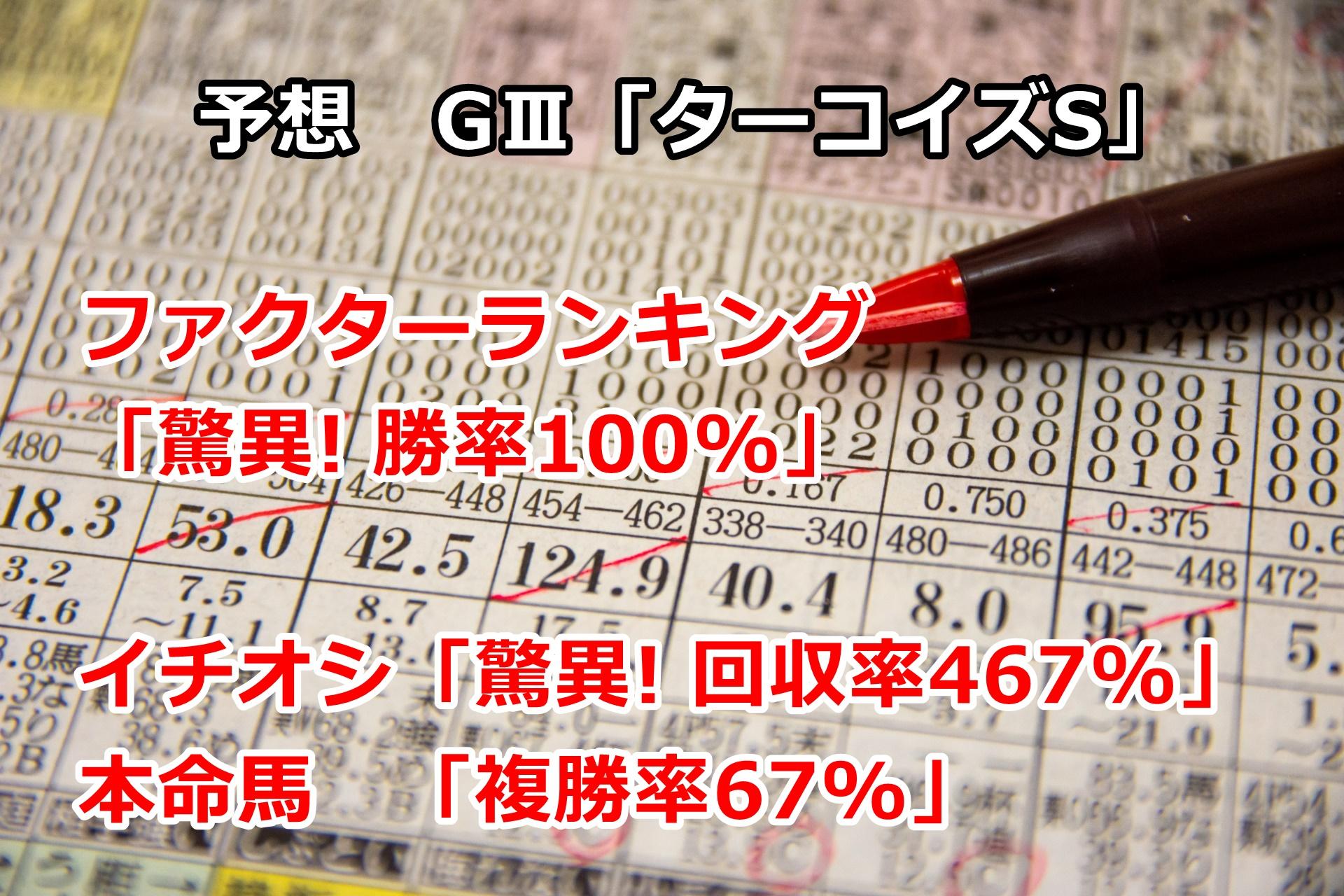 【競馬】ファクターランキング「驚異! 勝率100%」 ターコイズSの予想 第23回