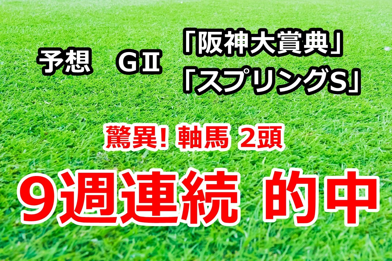 阪神大賞典 スプリングステークス2020 予想【驚異! 軸馬2頭 9週連続的中】